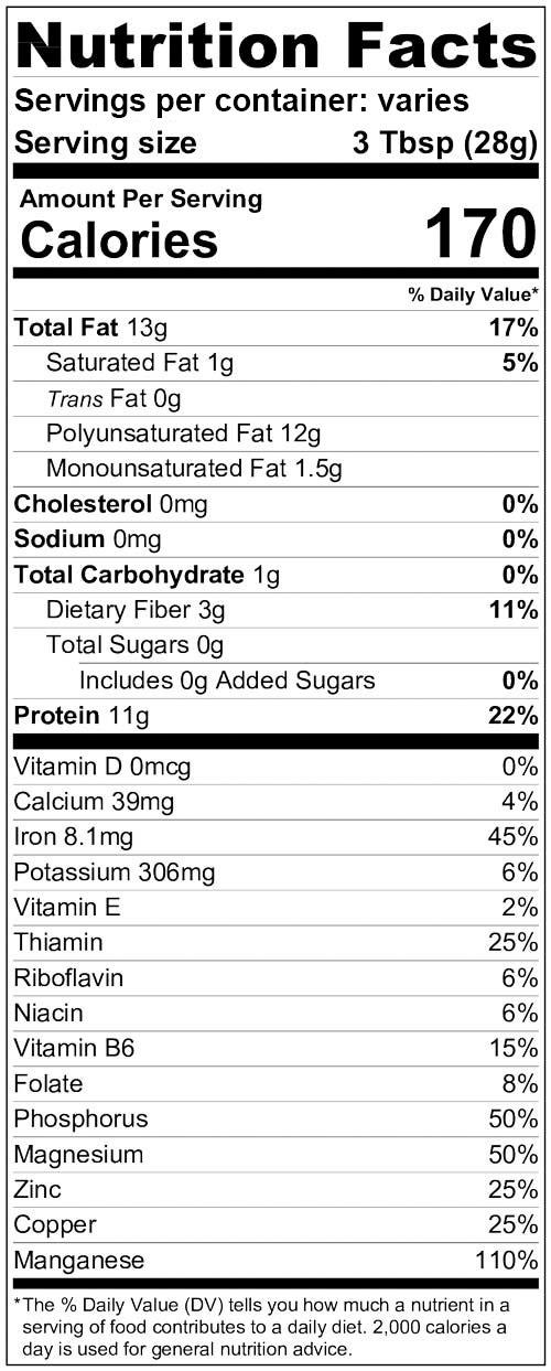 Victory Hemp Foods Shelled Hemp Seeds Nutrition Information